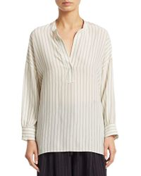 Vince - Double Stripe Shirred Silk Blouse - Lyst
