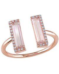 rina limor 14k rose gold pink quartz u0026 010 total ct diamond cuff