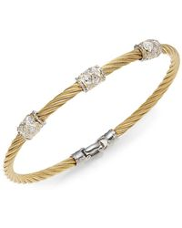 Alor | Diamond, 18k Yellow Gold & Steel Coil Bracelet | Lyst