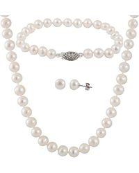 Splendid - Silver 6.5-7mm Freshwater Pearl Bracelet, Earrings, & Necklace Set - Lyst
