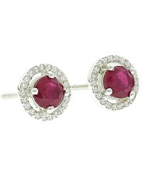 Adornia - Fine Jewellery Silver 3.38 Ct. Tw. Diamond & Ruby Studs - Lyst