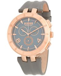 Versus - Rose-goldtone Stainless Steel Leather Strap Watch - Lyst