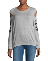 Project Social T - Heathered Cold-shoulder Sweatshirt - Lyst