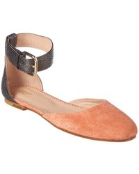 fb61887560a5 RED Valentino - Dottyred Leather   Suede Ballet Flat - Lyst