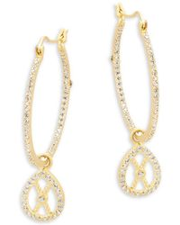Freida Rothman - Classic Cubic Zirconia And Sterling Silver Textured Open Filligrain Teardrop Hoop Earrings - Lyst