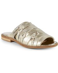 Kelsi Dagger Brooklyn - Metallic Leather Slides - Lyst