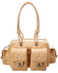 Chanel - Beige Quilted Lambskin Leather Cambon Reporter - Lyst