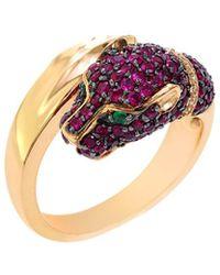 Effy - Fine Jewellery 14k Rose Gold 1.44 Ct. Tw. Diamond & Gemstone Panther Ring - Lyst