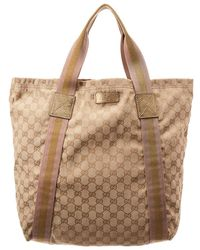 5c6ef215aef6 Gucci - Gold GG Canvas   Leather Medium Tote - Lyst