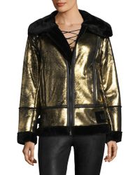 Avec - Metallic Faux Fur Moto Jacket - Lyst