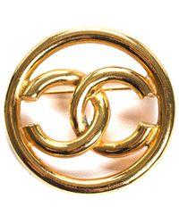 Chanel - Gold-tone Circle Cc Brooch - Lyst