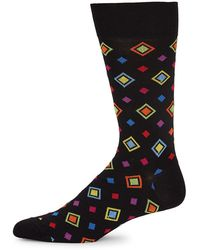 Bugatchi - Multicolored Diamond-pattern Socks - Lyst