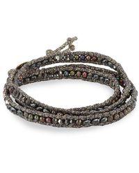 Chan Luu - Sterling Silver 1-2mm Freshwater Pearl Crystal Wrap Bracelet - Lyst