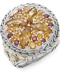 John Hardy - Batu Kawung Citrine, Garnet, Spessartine, 18k Yellow Gold & Sterling Silver Ring - Lyst