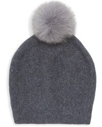 La Fiorentina - Fur Pom-pom Cashmere & Wool Hat - Lyst