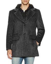 7 For All Mankind - Wool Hooded Coat With Quilted Lining - Lyst