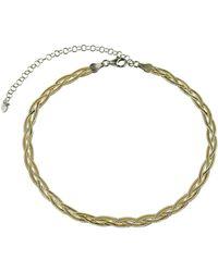 Argento Vivo - 18k Over Silver Braided Herring Bone Choker Necklace - Lyst
