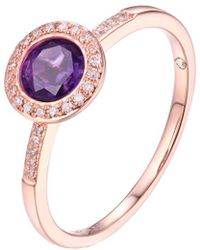 Diana M. Jewels . Fine Jewellery 14k Rose Gold 0.81 Ct. Tw. Diamond & Amethyst Ring