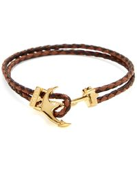 Mateo Bijoux - Braided Leather Anchor Bracelet - Lyst