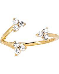 EF Collection - 14k 0.29 Ct. Tw. Diamond & Topaz Triple Trio Ring - Lyst