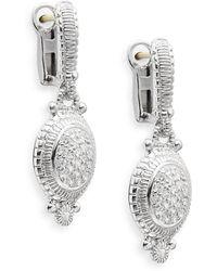 Judith Ripka - Natalie White Sapphire & Sterling Silver Pavé Oval Drop Earrings - Lyst