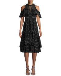 Rebecca Taylor - Cold Shoulder Clip Dot Dress - Lyst