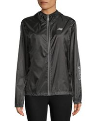 New Balance - Classic Hooded Full Zip Jacket - Lyst