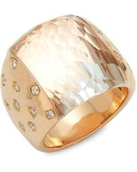 Roberto Coin - Diamond, Rock Crystal, Ruby And 18k Rose Gold Ring - Lyst
