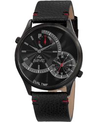 August Steiner - Dual Time Black Dial Watch - Lyst