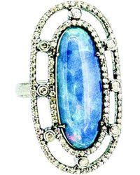 Arthur Marder Fine Jewelry Silver 1.10 Ct. Tw. Diamond & Opal Ring - Blue