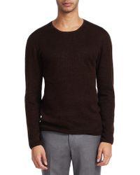 John Varvatos | Waffle Long Sleeve Crewneck Sweater | Lyst