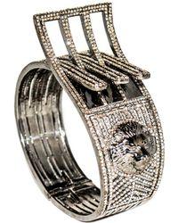 Arthur Marder Fine Jewelry - Silver 15.00 Ct. Tw. Diamond Lion Head Bangle - Lyst