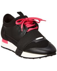 Balenciaga - Black And Pink Race Runner Trainers - Lyst
