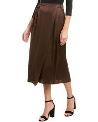 Vince Knot Panelled Silk Midi Skirt - Black