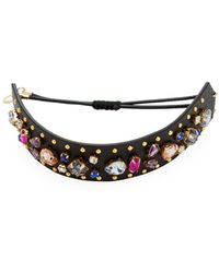 Rebecca Minkoff - Jewelled Guitar Strap Leather Bracelet - Lyst