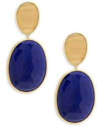 Marco Bicego - Lunaria Lapis And 18k Yellow Gold Double Drop Earrings - Lyst