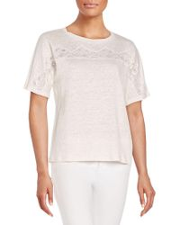 Rebecca Taylor - Lace-inset Linen Tee - Lyst