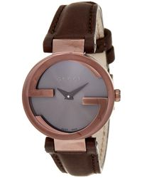 0b1f3993672 Lyst - Gucci Ya133207 Interlocking Rose Gold-plated And Leather ...