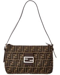 Lyst - Fendi Authentic Zucca Canvas Leather Black Shoulder Bag in Black 96feacaa4e205