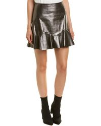 Rebecca Taylor Ruffle Leather Skirt - Metallic