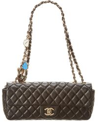 1bb698963cdd Chanel - Black Quilted Lambskin Leather Valentine Medium Single Flap Bag -  Lyst