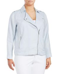 Vince Camuto - Drapey Linen Moto Jacket - Lyst