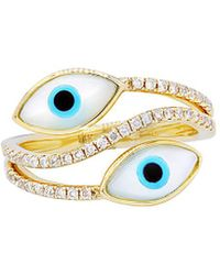 Diana M. Jewels - . Fine Jewelry 14k Yellow Gold 0.30 Ct. Tw. Diamond Evil Eye Ring - Lyst