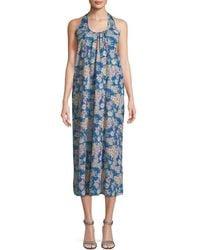Christophe Sauvat Christopher Sauvat Kio Floral Print Midi Dress - Blue