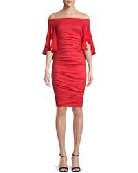 Nicole Miller Artelier - Georgette Combo Off-the-shoulder Dress - Lyst