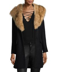 Badgley Mischka - Holly Faux Fur Collar Coat - Lyst