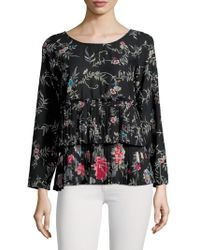 Plenty by Tracy Reese - Pleated Floral Tee - Lyst