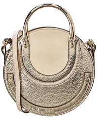 6085b02bcb2c Chloé - Pixie Small Metallic Leather   Suede Saddle Bag - Lyst