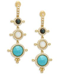 Freida Rothman - Crystal, Turquoise, Moonstone And Sterling Silver Earrings - Lyst