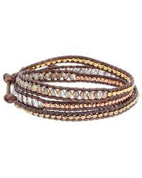 Chan Luu - Silver Gemstone & Crystal Leather Wrap Bracelet - Lyst